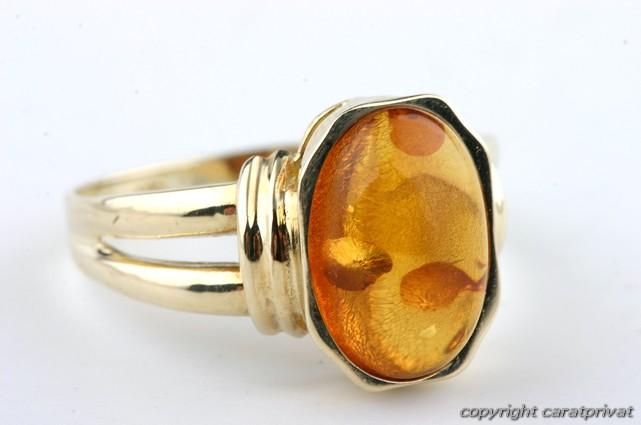 Gold Ring 585 mit Bernstein Goldschmuck Damenring